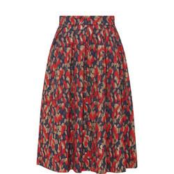 Printed Pleat Midi Skirt