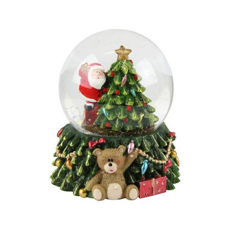 Santa with Tree LED Medium Dome
