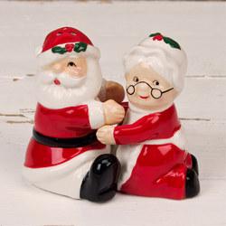 Ceramic Santa Claus and Mrs Claus Salt and Pepper Pots