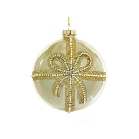 Ribbon Bauble With Clear Jewels