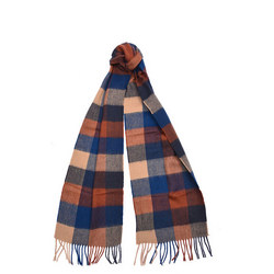 Large Tatersall Linen And Wool Scarf