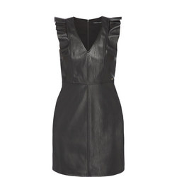 Frilled Faux Leather Dress