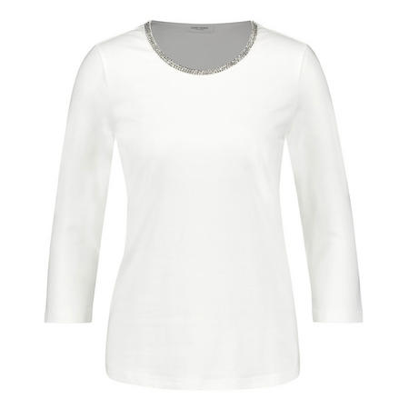 Sequin Collar Crop Sleeve T-Shirt