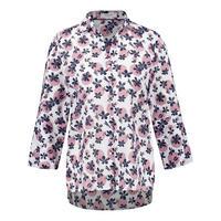 Flower Print Dip Hem Shirt