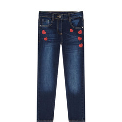 Girls Sparkle Heart Jeans