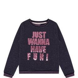 Girls Lurex Logo Sweatshirt