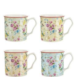 Four-Piece Floral Mug Set
