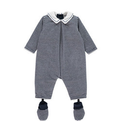 Nigel Velour Striped All-In-One With Booties