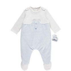 Niall Stripe Dungaree And Wrist Rattle Set