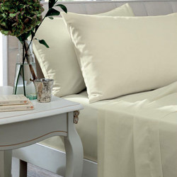 Percale 200 Thread Count Flat Sheet Ivory