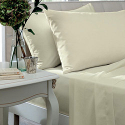 Percale 200 Thread Count Ivory Fitted Sheet Set