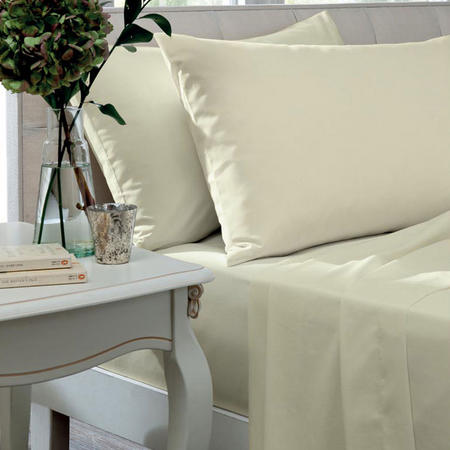 Percale 200 Thread Count Ivory Fitted Sheets