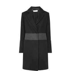 Single-Breasted Contrast Band Coat