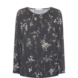 Gathered Floral Print Blouse