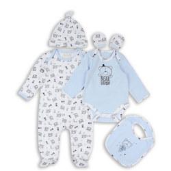 Five-Piece Tiny Bear Bodysuit Set