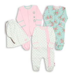 Three-Pack Vintage Floral Frill Sleepsuits
