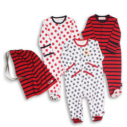 Three-Pack Bright Spotty Star Sleepsuits