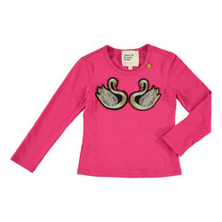 Girls Swan Long Sleeve Top