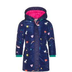 Girls Unicorn Quilted Coat