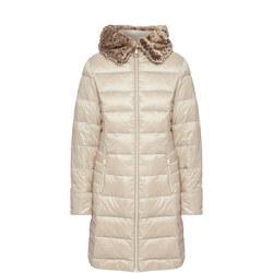 Longline Quilted Fur Hood Coat