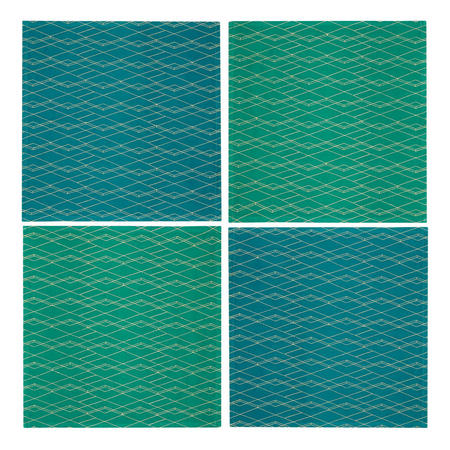 John Lewis Collector's House Embroidered Napkins, Green/Blue, Set of 4