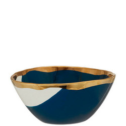 John Lewis Painted Bowl, Dia.24cm, Carbon Blue/Gold
