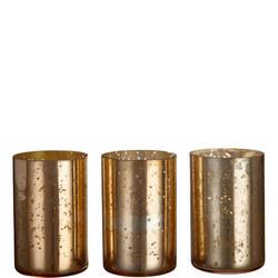 John Lewis Glass Votive Candle Holder, Burnished Copper, Set of 3