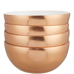 John Lewis Amber Printed Bowls, Set of 4, Copper, Dia.8cm
