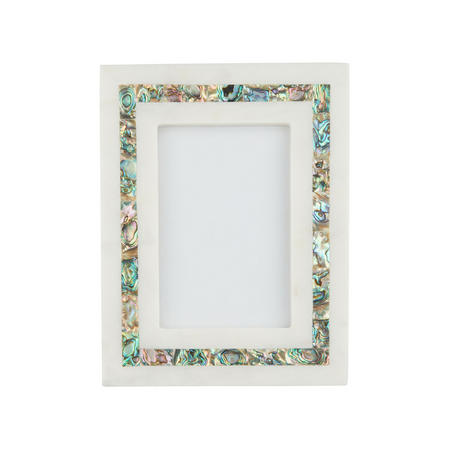 "John Lewis Marble & Mother of Pearl Photo Frame, 6"" x 4"" (10 x 15 cm), White"