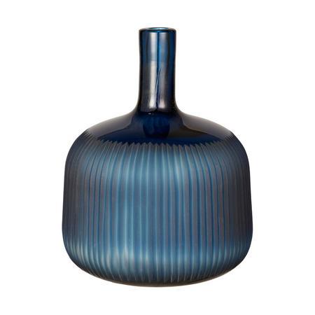 John Lewis Carved Glass Vase, Blue, H23.7cm