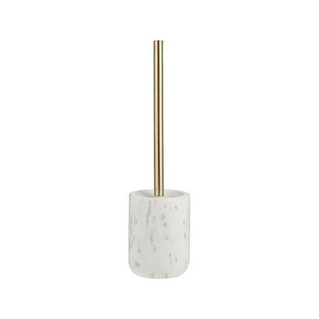 White Marble Toilet Brush and Holder Brass