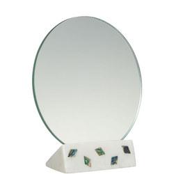 John Lewis Round Mirror On Marble, White