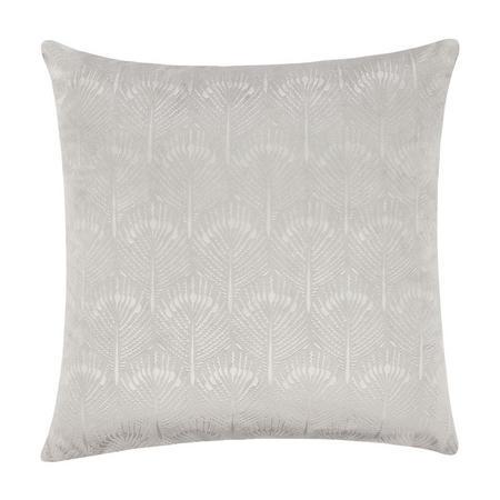 Pavone Embossed Velvet Cushion Silver 45 x 45cm