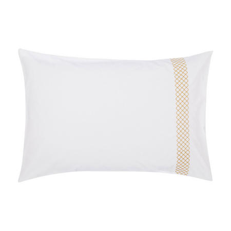 Crisp and Fresh Rome Embroidered Cotton Standard Pillowcase Gold