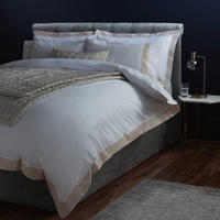 John Lewis Crisp and Fresh Rome Embroidered Cotton Double Duvet Cover, Gold