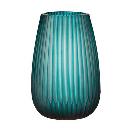 John Lewis Carved Glass Vase, Teal, H23.5cm