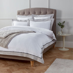 Soft and Silky Padova Border Egyptian Cotton Duvet Cover Cool Grey