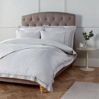 John Lewis Soft and Silky Garda Lattice Stitch Egyptian Cotton 400 Thread Double Duvet Cover, Cool G