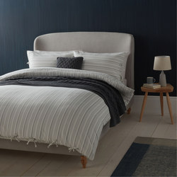 Croft Collection Relaxed Stripe Duvet Cover White
