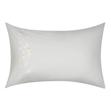 Croft Collection Poppyheads Standard Pillowcase Grey