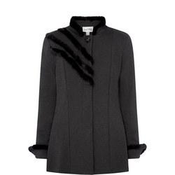 Pleated Faux Fur Trim Coat