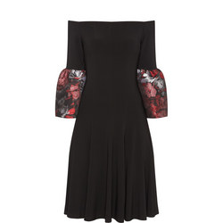 Jacquard Sleeve Bardot Dress