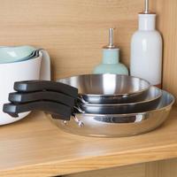 Kitchen Hacks 3 Piece Stainless Steel Nesting Frypan Set