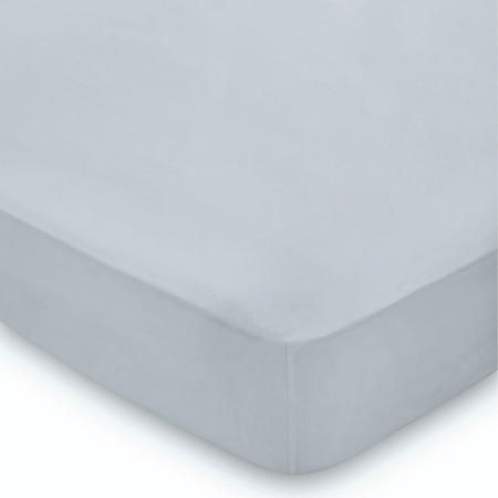 300 Thread Count Cotton Percale Fitted Sheet Blue Mist. <br><br> Size: 36cm