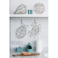 Ocean Whale Basket In Satin Grey Wireware