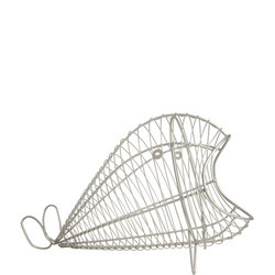 Ocean Whale Basket In Satin Grey Wireware