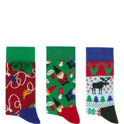 Singing Holiday Socks Gift Box