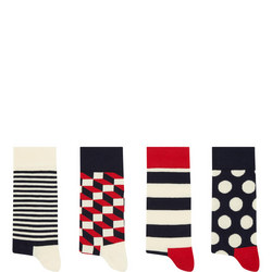 Four-Pack Geometric Socks