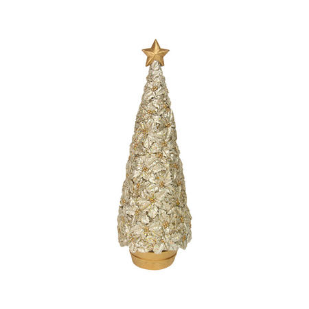 Gold Resin Holly Christmas Tree in Pot Ornament