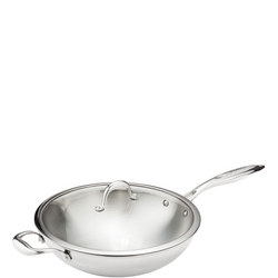 Tri-ply 32cm Wok with Glass Lid